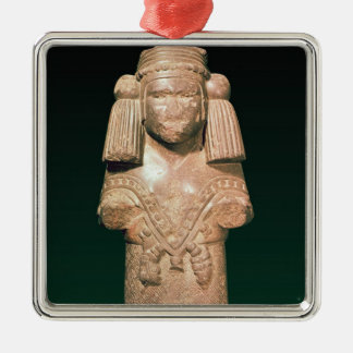 Statue of Coatlicue, ancient earth and mother Silver-Colored Square Decoration