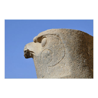 Statue of Falcon God Horus at Edfu Temple, Egypt Poster