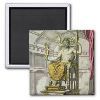 Statue of Jupiter in a Temple, from 'Costumi dei R Square Magnet