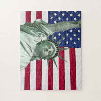 Statue of Liberty and American Flag Jigsaw Puzzle
