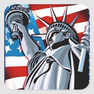 Statue of Liberty and American Flag Square Sticker