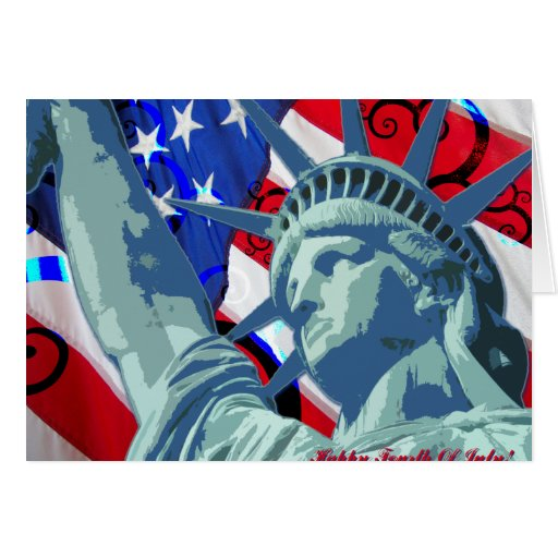 Statue of Liberty and Patriotic American Flag Cards