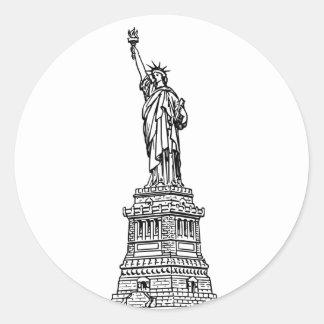 Statue of Liberty, black Classic Round Sticker