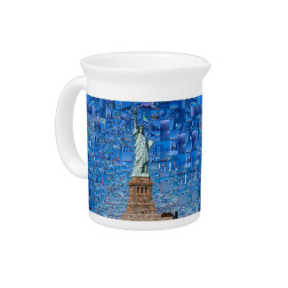 statue of liberty collage - statue of liberty art pitcher