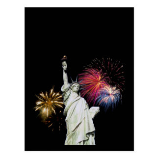 Statue of Liberty - Fireworks Background Postcard