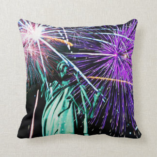 Statue of Liberty-Fireworks Throw Pillow