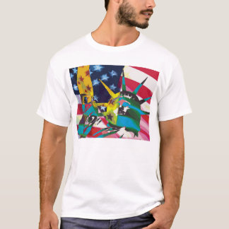 Statue of Liberty & Flag Posterized T-Shirt