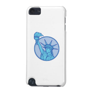 Statue of Liberty Flaming Torch Circle Mono Line iPod Touch 5G Cover