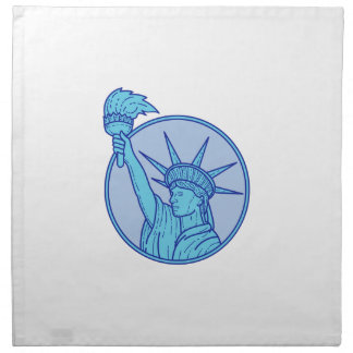 Statue of Liberty Flaming Torch Circle Mono Line Napkin