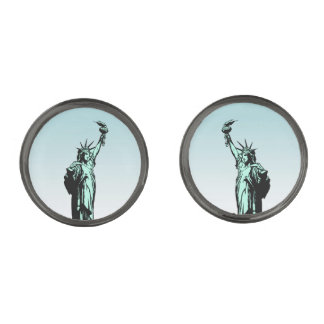 Statue of Liberty Immigrants Cufflinks Gunmetal Finish Cuff Links
