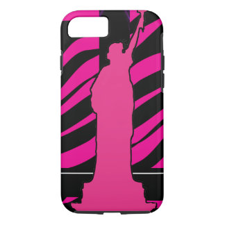 Statue of Liberty in Pink and Black iPhone 7 Cases