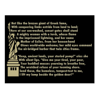 Statue of Liberty - New Colossus Patriotic Poem Postcard