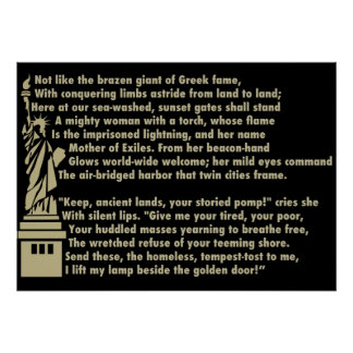 Statue of Liberty - New Colossus Patriotic Poem Poster