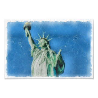 Statue of liberty, New York watercolors painting Photo Print