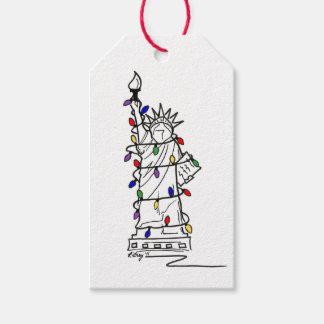 Statue of Liberty NYC Holiday Lights Christmas Tag