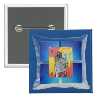 Statue of Liberty pillow painting button