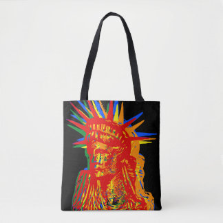 STATUE OF LIBERTY RAINBOW POP ART TOTE BAG