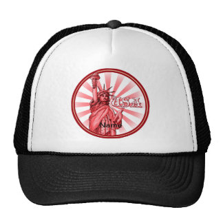 Statue of Liberty Red USA Mesh Hats