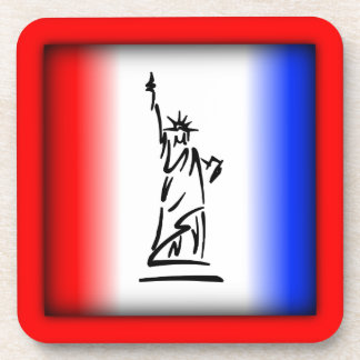 Statue of Liberty Red White Blue Stripe Coaster