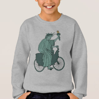 Statue Of Liberty Riding USA Bike Sweatshirt