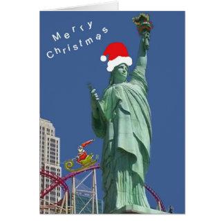Statue of Liberty & Santa Las Vegas Christmas Card
