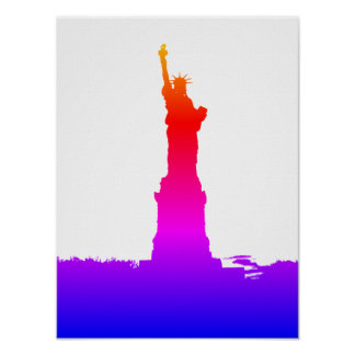 Statue of Liberty Silhouette Pop Art Poster