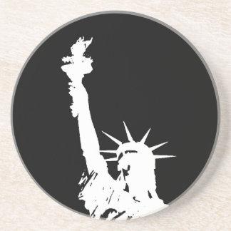 Statue of Liberty Silhouette Sandstone Coaster