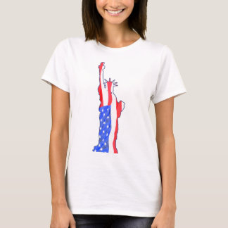 statue of liberty, stars stripes, red white blue T-Shirt