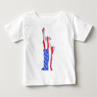 statue of liberty, stars stripes, red white blue shirt