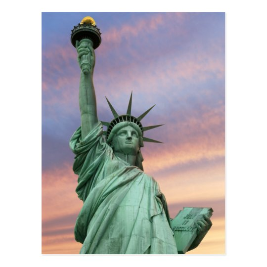 statue of liberty under vivid sky postcard