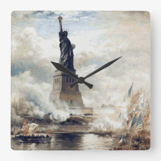 Statue of Liberty Unveiling 1886 Square Wall Clock