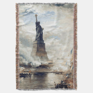 Statue of Liberty Unveiling 1886 Throw Blanket