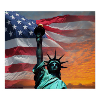 Statue of Liberty US Flag Poster