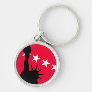 Statue of Liberty with Red and White Stars Silver-Colored Round Key Ring
