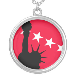 Statue of Liberty with Red and White Stars Round Pendant Necklace