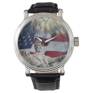 Statue of Lincoln & American Flag with Fireworks Wristwatch
