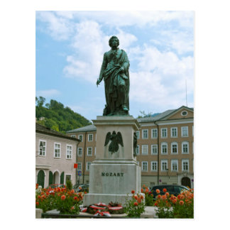 Statue of Mozart in Salzburg Postcard