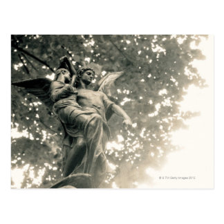 Statue of St Michael, Pere Lachaise Cemetery, Postcard