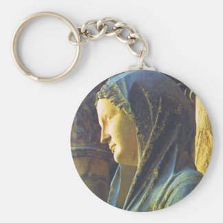 Statue of the Virgin Mary Basic Round Button Key Ring