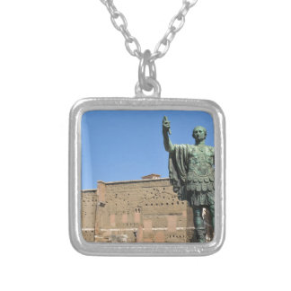 Statue of Trajan in Rome, Italy Silver Plated Necklace