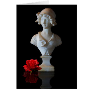 STATUE WITH ROSE ON BLACK GREETING CARD