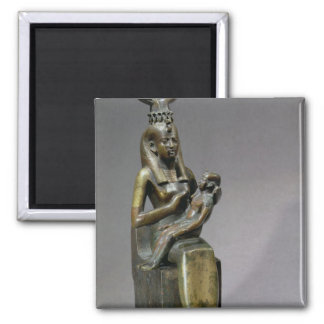 Statuette of the goddess Isis and the child Horus Square Magnet