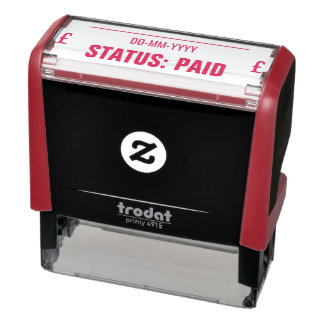 """""""STATUS: PAID"""" + Pound Sign Rubber Stamp"""