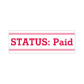 """""""STATUS: Paid"""" Rubber Stamp"""