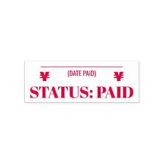 """""""STATUS: PAID"""" & Yen Sign Rubber Stamp"""