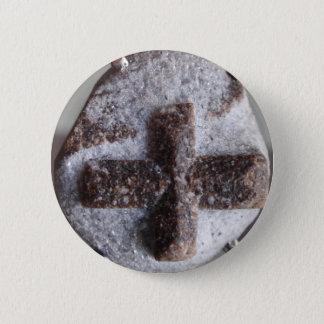 Staurolite , perfect crystal intersection 6 cm round badge