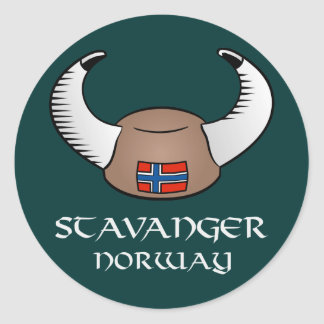 Stavanger Norway Viking Hat Classic Round Sticker