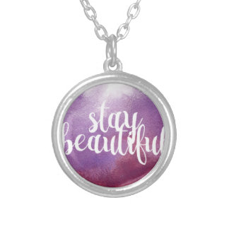 Stay Beautiful watercolor Silver Plated Necklace