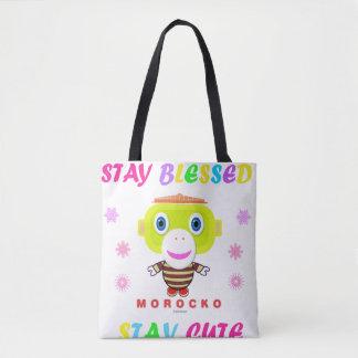 Stay Blessed Stay Cute-Cute Monkey-Morocko Tote Bag