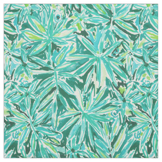 STAY CHILL Wild Green Tropical Leaves Pattern Fabric